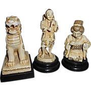 3 Antique German Germany Japanese Porcelain Asian Figurines Carved Ivory Simulation Foo Dog Geisha Man