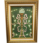 American Encaustic Art Pottery Tile Plaque Matte Green Torch Bellflowers