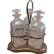 Antique Silver Plate Tantalus W 3 Glass Decanters Sheffield Crystal Liquor Bottle