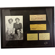 Autographed Signed I Love Lucy Cast Ensemble Ball Desi Arnaz Vivian Vance William Frawley Framed