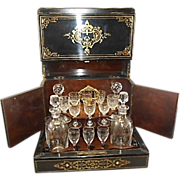 Antique 19th C Napoleon III French Tantalus Ships Barware Cave A Liqueur Boulle Ebonized Rosewood