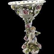 Vintage Von Schierholz German Porcelain Cherub Compote Dresden