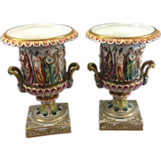 Pair Old Vintage Capodimonte Porcelain Pottery Campana Urn Vase Nudes Neoclassical