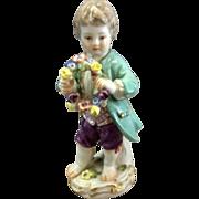 "Old German Meissen Porcelain Figurine Boy With Flower Wreath 5"" Tall Germany"