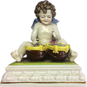 Old Early 20th C Kister Porcelain Cherub Drummer Angel W Wings Band Germany