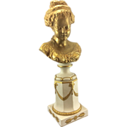 French Sevres Style Parian Porcelain Bisque Statue Sculpture Gilt Bust Young Woman Gilded Pedestal Column Swags Marbro