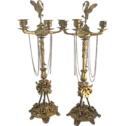 Pr French Antique Bronze Candelabra Aesthetic Empire Style Crane On Turtle Finial Gothic