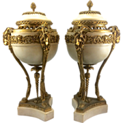 Pair Antique French Louis XVI Marble Gilt Bronze Ormolu Brule Parfum Urns Rams Goats Head Hooves France Cassolette