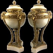 Pair Antique French Louis XVI Marble Gilt Bronze Ormolu Brule Parfum Urns Rams Goats Head Hooves France Cassolette