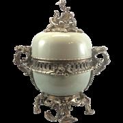 Maitland Smith Celadon Porcelain & Silvered Bronze Potpourri Urn Vase French Style