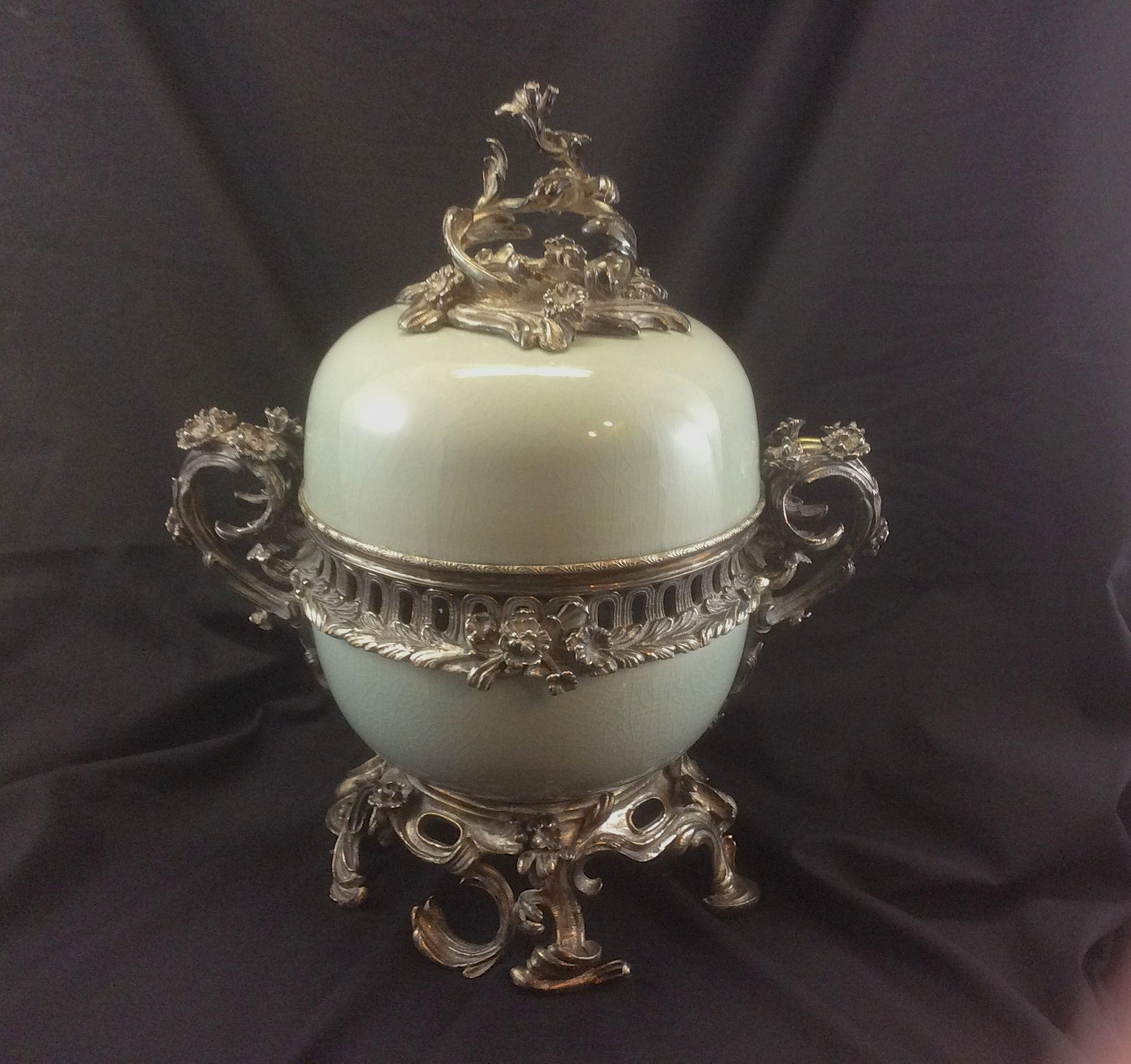 Maitland Smith Celadon Porcelain Silvered Bronze Potpourri