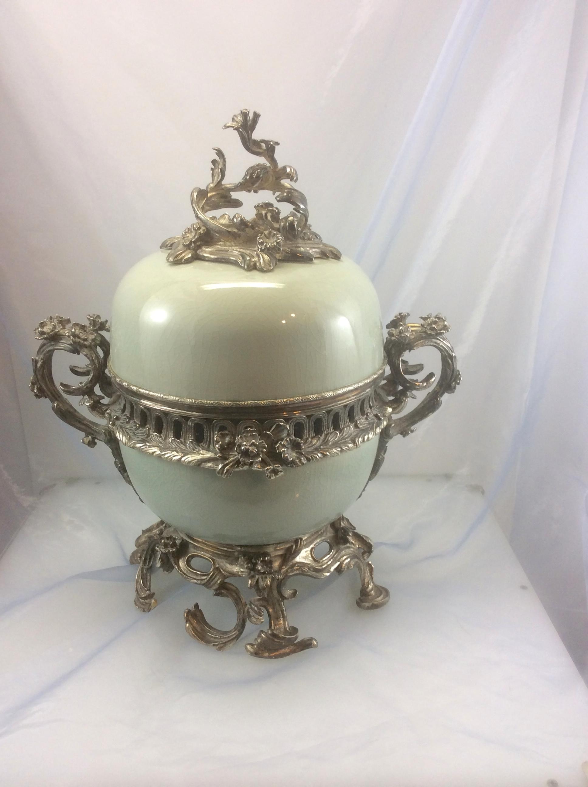 Maitland Smith Celadon Porcelain Silvered Bronze Potpourri Urn Vase From Royalpelicanantiques On