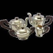 Antique German 800 Hanau Continental Silver Gebruder Friedlander Tea Set Germany Bird Motif
