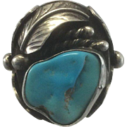 Vintage Large Mexican Southwest Sterling Silver Native American Tribal Ring