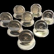 8 Antique Solid Sterling Silver Menu Name Card Holders Sampson Mordan & Co England Monogrammed H