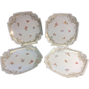 4 Antique T & V Limoges France Pitkin Brooks Chicago Shell Cabinet Dessert Plates 1889 Painted Flowers