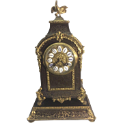 Antique French Louis XIV Style Boulle Gilt Ormolu Mantel Clock W Base Rooster Finial Napoleon III Era Working Condition