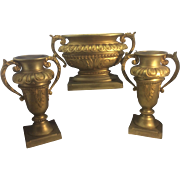 French 3 Piece Continental Dore Bronze Jardiniere Vase Urn Centerpiece Louis XVI Style Buenos Aires Abbiati Foundry Antique 19th Century