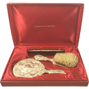 Vintage Gorham Buttercup Sterling Silver Dresser Vanity Set Comb Mirror Brush W Box Repousse