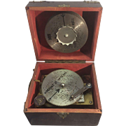 Antique German Symphonium Wind Up Disc Portable Music Box W 12 Metal Discs Jay Ward Estate - Red Tag Sale Item