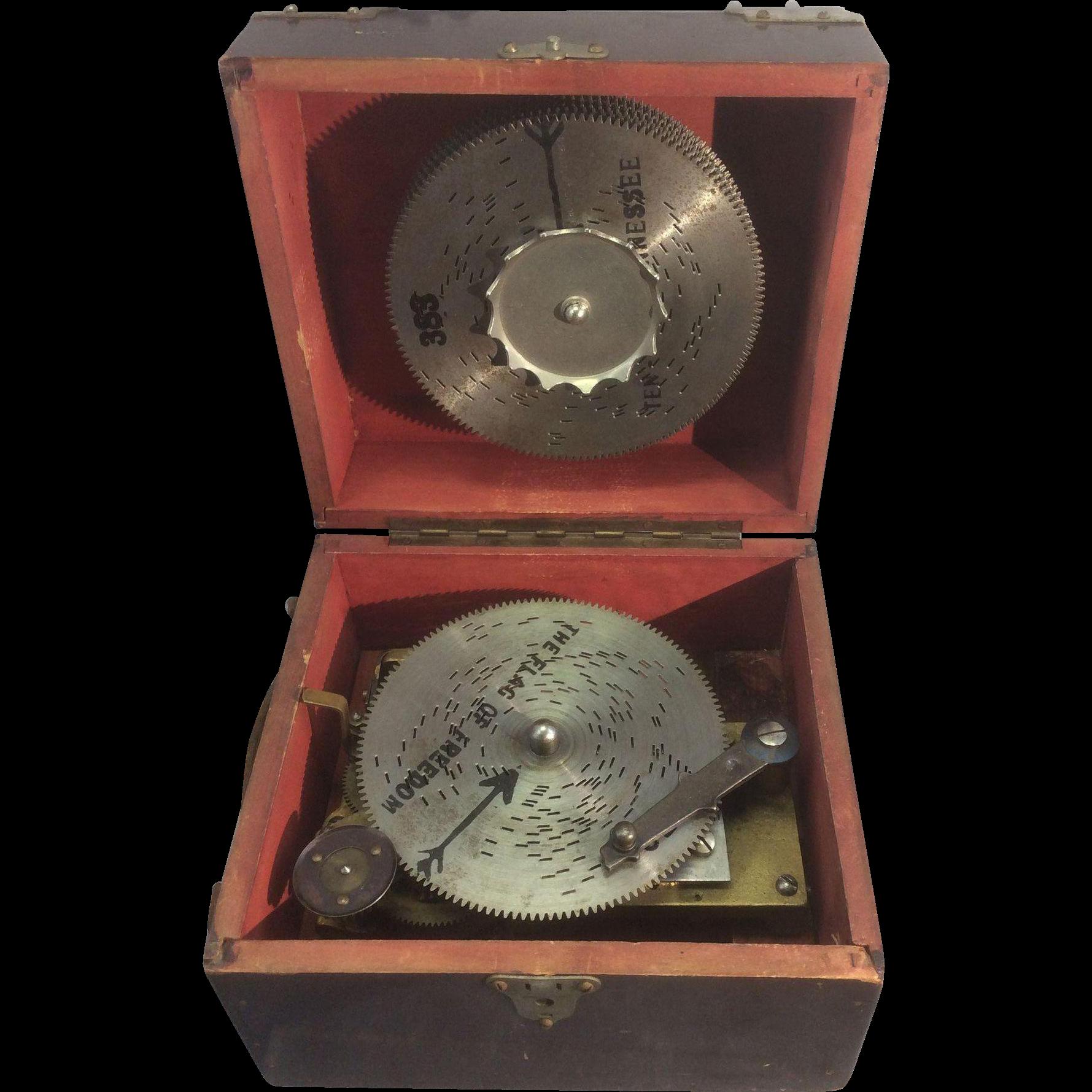 Antique German Symphonium Wind Up Disc Portable Music Box W 12 Metal Royal Pelican Antiques