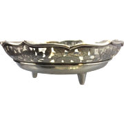Aesthetic Period Sterling Silver Footed Pierced Bowl Chinese Japanese Asian Lotus Blossom Leaf