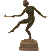 Joe Descomps Cormier French Art Deco Nude Bronze  Sculpture Danseuse à la balle Balancing The Ball