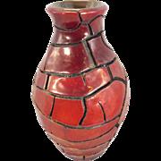 Zsolnay Pecs Hungary Art Pottery Crackle Glaze Vase Iridescent Eosin Porcelain Faience MCM