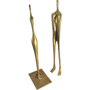 Vintage Listed Artist Aharon Bezalel Brass Sculpture Man & Woman 1984 Modern Art