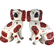 Pair Antique English Old Staffordshire Pottery Ceramic Dog Spaniels Figurines