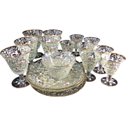 Circa 1900 17pc Salviati & Moser Art Glass Glassware Enamel Canine Foliate Pattern Glassware Stemware