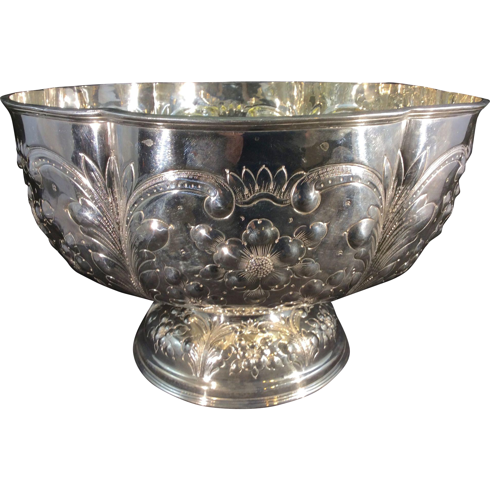 Old Sheffield Silver Plate Punch Bowl H Wilkinson Foliate Repousse W Sold Ruby Lane