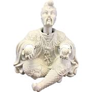 Vintage Bisque Porcelain Chinese Asian Man Nodder Chinoiserie