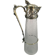 Antique Elkington Silver Plate Claret Jug Carafe Pitcher Etched Glass Crystal Aesthetic Period Cherubs English