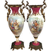 Antique French Sevres Style Porcelain Urn Vases Gilt Ormolu Bronze Painted Luigi