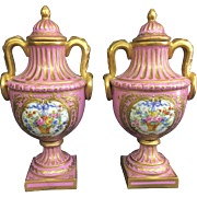 Antique Pair Sevres France Porcelain Pink Gilt Cabinet Lidded Urns Vases French
