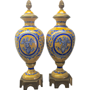 Pr Antique Paris Bourdois & Bloch French Sevres Style Porcelain Ormolu Lidded Urns Vases - Red Tag Sale Item