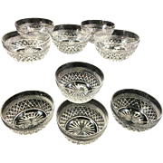 Vintage Signed Webb Crystal Glass Finger Berry Or Dessert Bowls