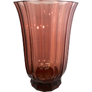 Massive Moser Crystal Glass Faceted Urn Vase Amethyst Pink Czech Republic