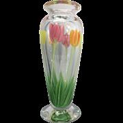 Orient & Flume Art Glass Vase Tulips Floral Artist Bruce Sillars