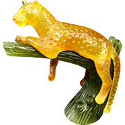 Daum France Art Glass Panther Lion Cat In Tree Pate de Verre French