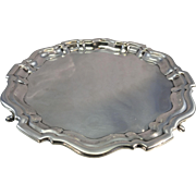 Antique 1896 English Georgian Style Sterling Silver Footed Salver Tray Charles Boyton London