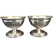 Pr 1796 London English Georgian Sterling Solid Silver Salt Bowls