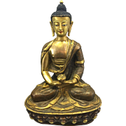 Vintage Chinese Sino Tibetan Asian Gilded Buddha Shakyamuni Bronze Copper Sculpture