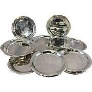 13 Piece 800 Solid Silver Coasters Butter Pat W Larger Bread Plate Dish
