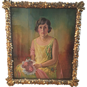 Original 1926 Nina Waldeck Painting On Canvas Young Lady W Antique Gilt Wood Frame Laurel Oak Leaves Acorns