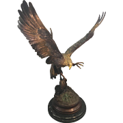 Jules Moigniez Bronze Sculpture Eagle French France Marble Base