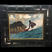 Original Michael Cassidy Surfer Surfing Hawaiian Oil Painting Publics Beach Hawaii