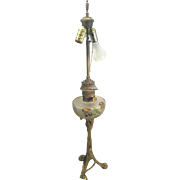 Art Nouveau French Bronze Oil Kerosene Lamp Cristallerie De Pantin Glass