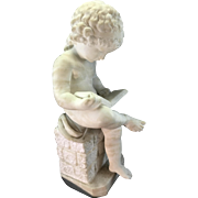 Vintage Alabaster Or Stone Marble Sculpture Of Young Girl Child Reading Book